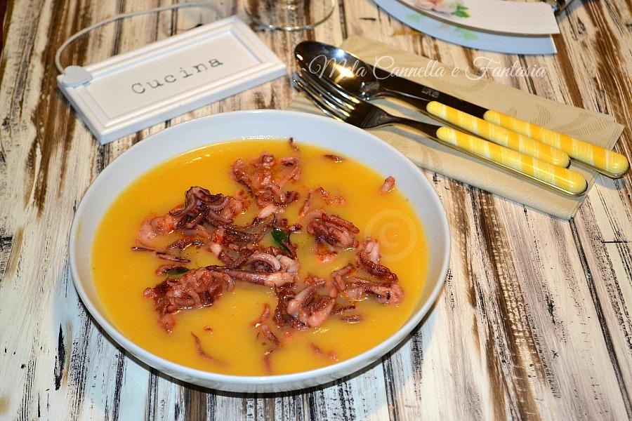 Crema di zucca con scampi e totani - ricetta facilissima