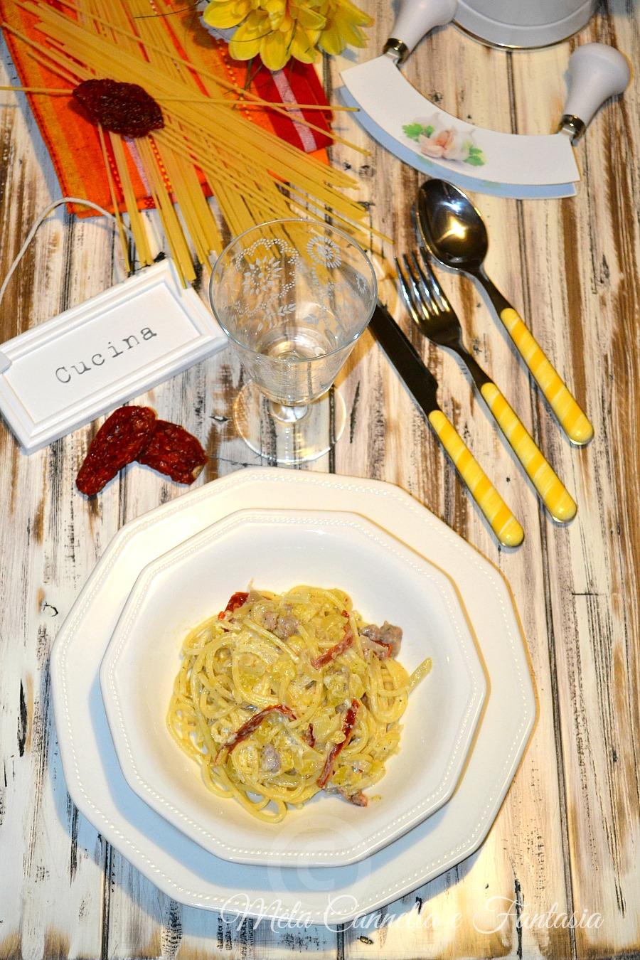 spaghetti zucca e salsiccia