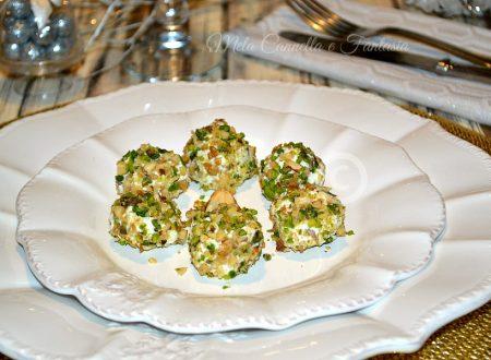Palline ricotta con granella di pistacchi noci e nocciole