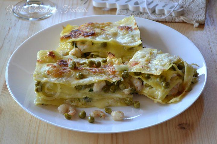 lasagna gamberetti e piselli