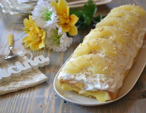 Rotolo all'ananas con crema al limone e granella di mandorle