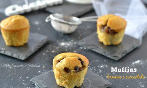 Muffins banana e cioccolato soffici profumati e senza burro