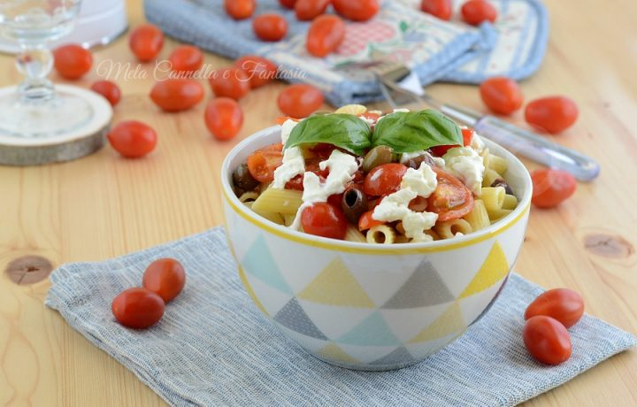 Pennette fredde stracciatella pomodorini e olive taggiasche