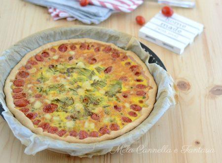 Torta salata estiva con fiori di zucca e datterini facile e veloce