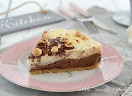 Cheesecake duetto con Nutella e nocciole senza cottura