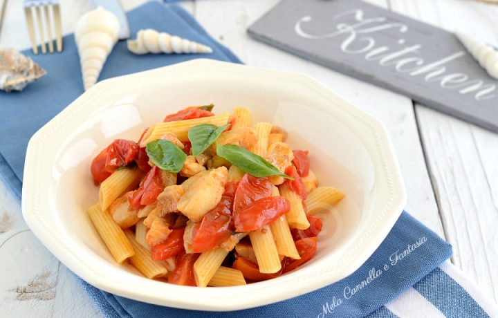 Pennette con merluzzo pomodorini e basilico – ricetta light