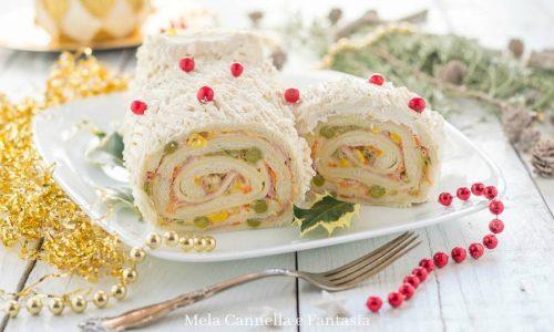 Tronchetto salato con macedonia di verdurine e prosciutto cotto