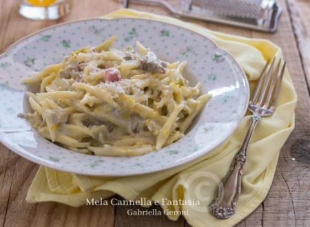 Trofie ai carciofi con gorgonzola e prosciutto cotto cremosissime