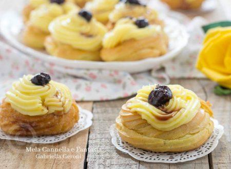 Zeppole al forno o fritte con crema al limone e amarene