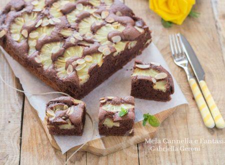 Torta ananas e cacao con scaglie di mandorla (senza burro)
