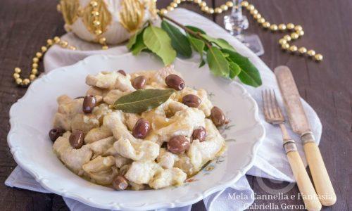 Fesa di tacchino con cipolle borettane e olive taggiasche