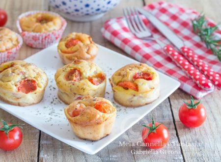 Muffins pizza con mozzarella prosciutto cotto e pomodorini