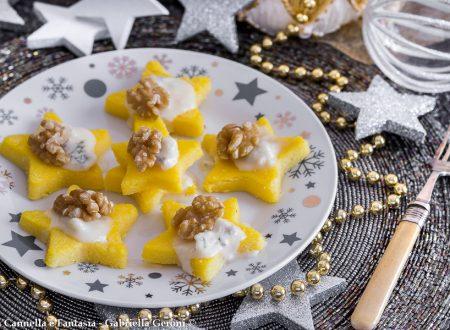 Tartine di polenta al forno con gorgonzola e noci veloci e sfiziose