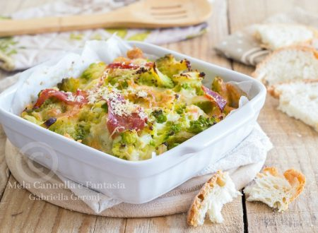 Broccolo romanesco gratinato con mozzarella e prosciutto