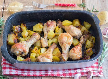 Ricetta fusi di pollo al forno con patate al rosmarino