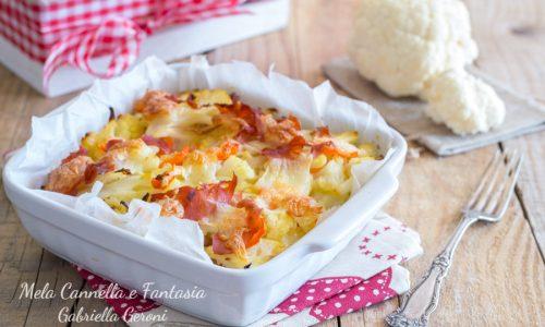Ricetta cavolfiore gratinato con speck e mozzarella