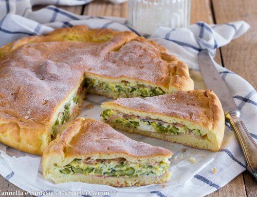 Torta salata ricotta asparagi e prosciutto cotto morbida