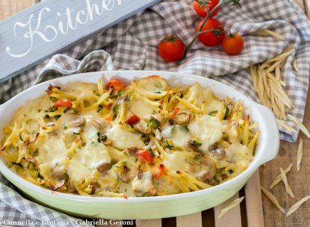 Trofie vegetariane al forno con funghi e mozzarella