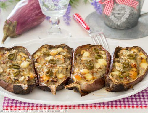 Melanzane al forno farcite con carne provola e olive