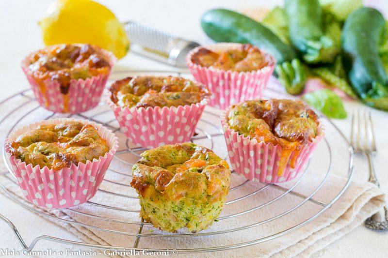 Muffins con salmone zucchine e provola affumicata