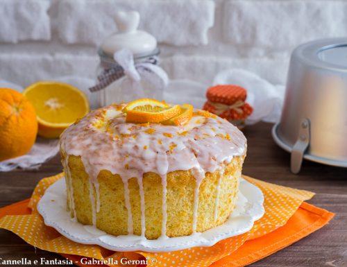Chiffon cake all'arancia con glassa al limone sofficissima