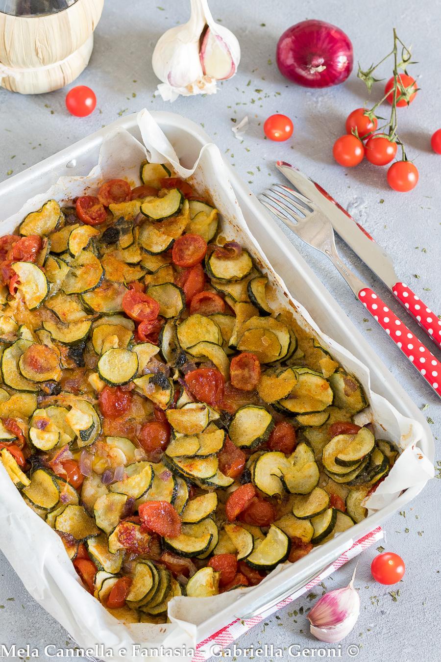 zucchine e pomodorini gratinati