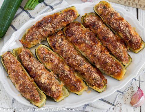 Barchette di zucchine ripiene di carne e provola affumicata