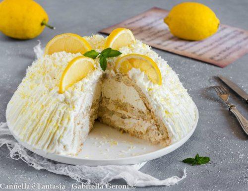 Zuccotto al limone e cocco senza cottura fresco e veloce