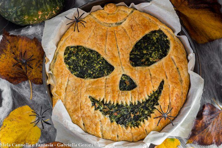 torta salata di halloween con ricotta e spinaci