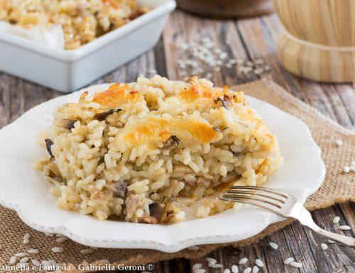 Sformato di riso al forno con funghi e carne macinata