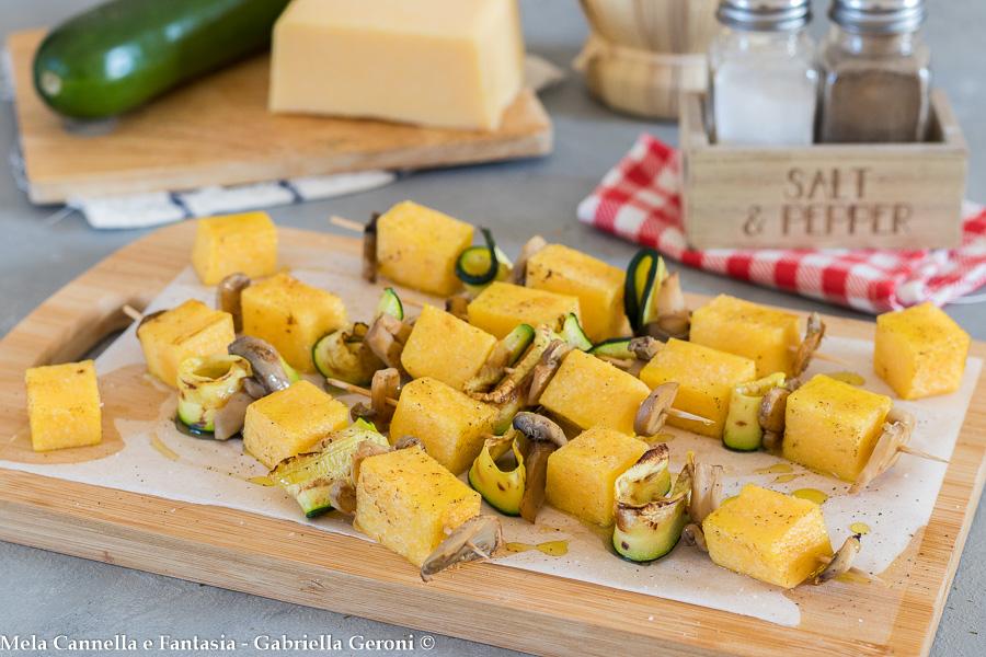 spiedini di polenta vegetariani