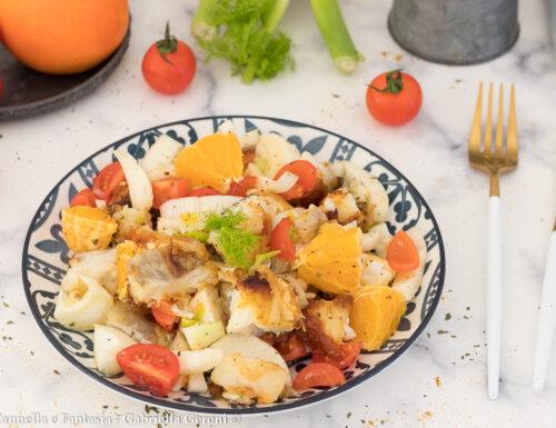 Insalata con baccalà arance finocchi e pomodorini