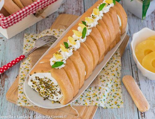 Semifreddo ananas e pistacchi con savoiardi facile e veloce