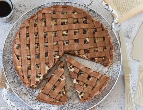 Crostata cacao e ricotta con gocce di cioccolato