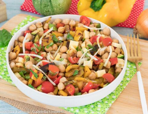 Insalata di ceci con verdure grigliate facile veloce e gustosa