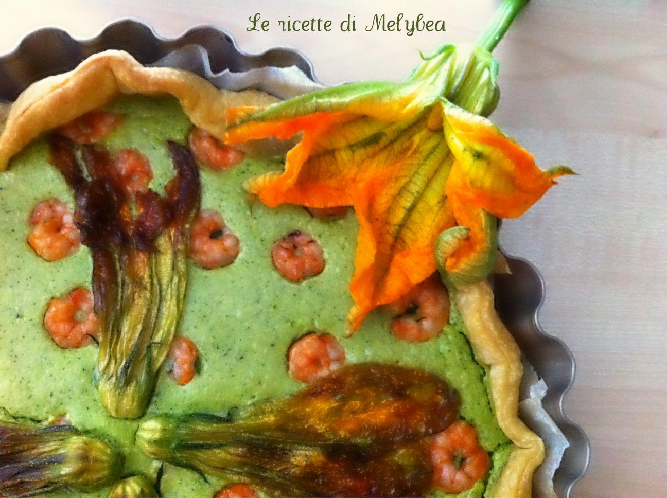 Torta salata con zucchine gamberi e fiori di zucca
