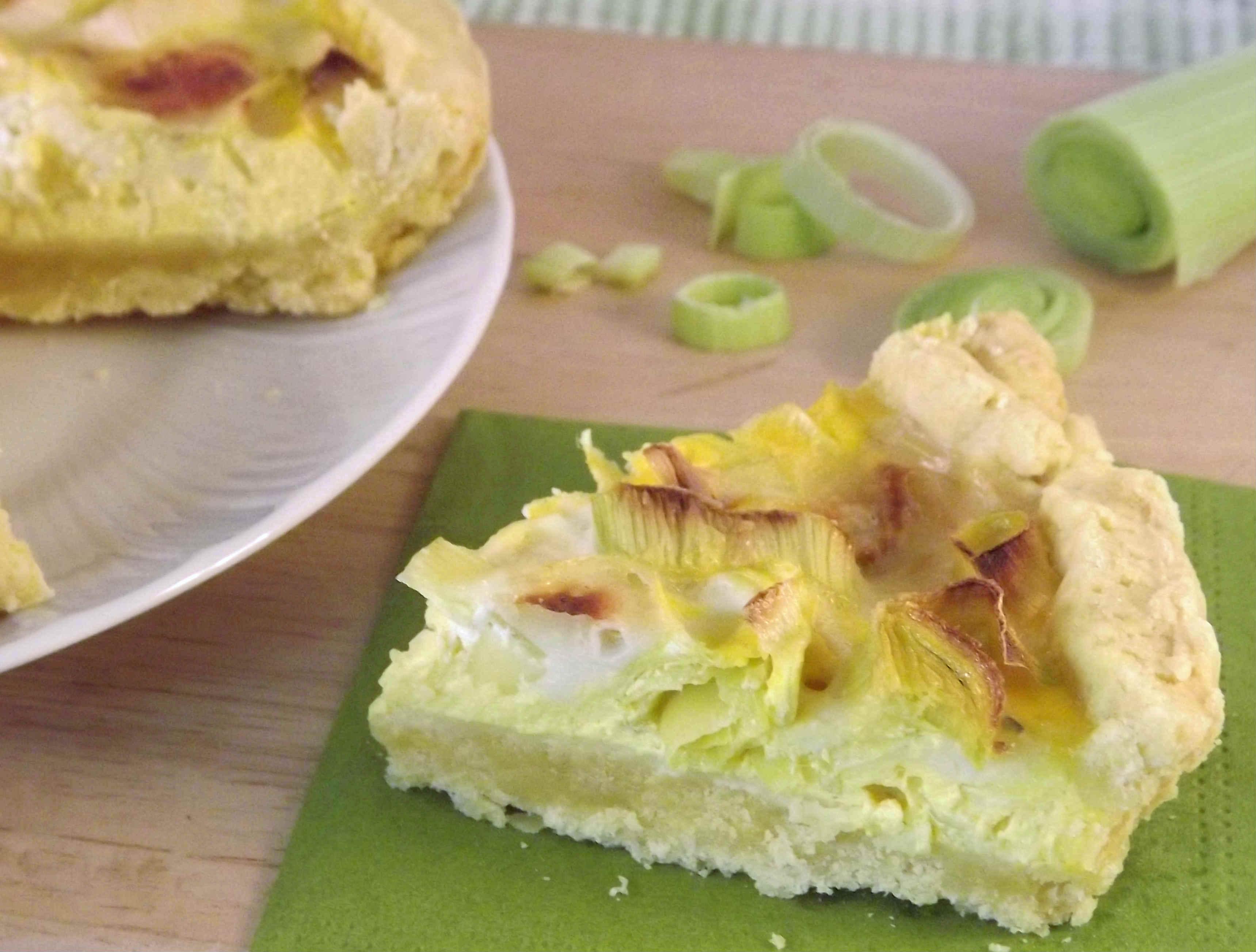 torta salata con porri e gorgonzola