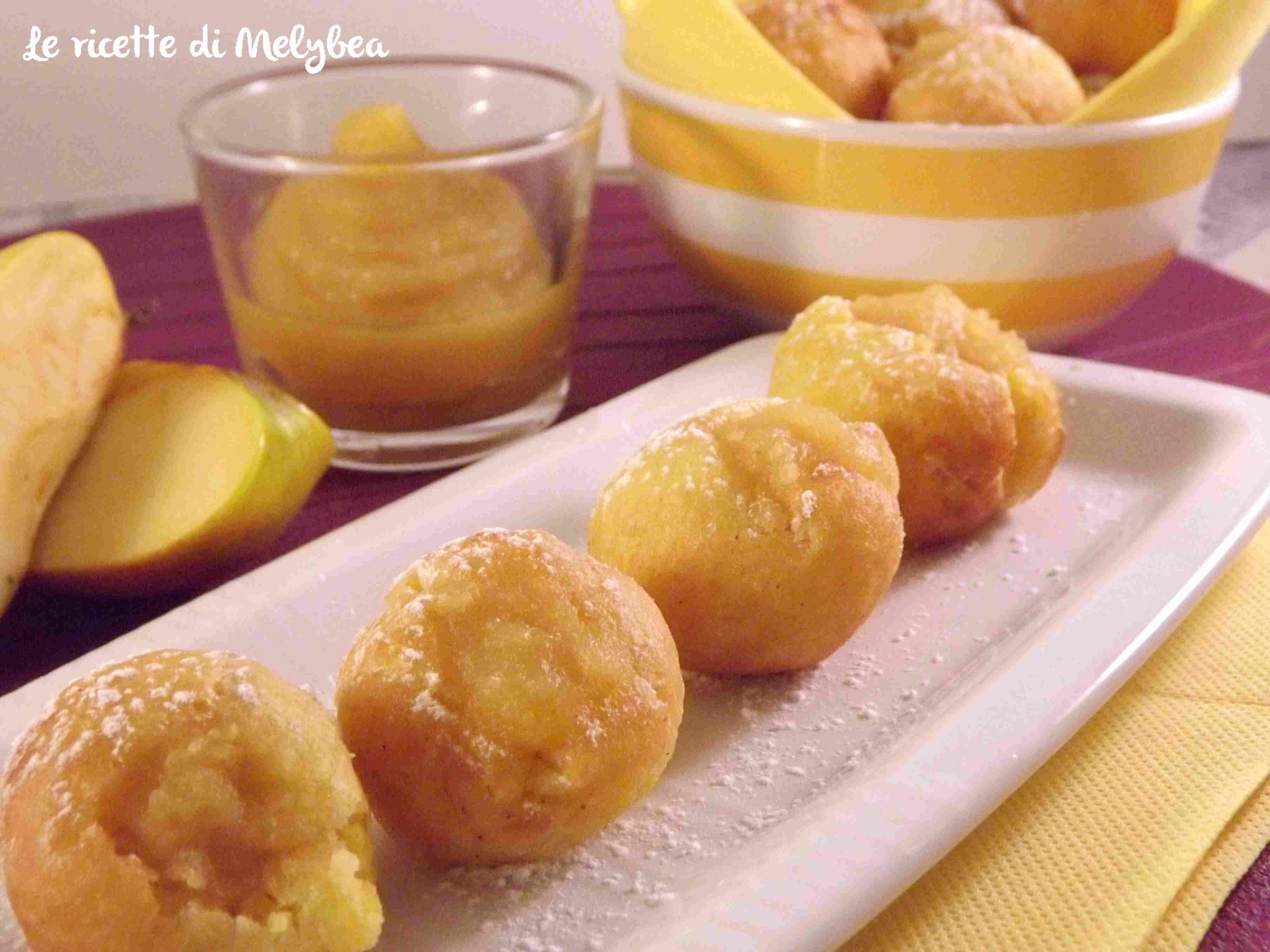 Castagnole con crema di mele