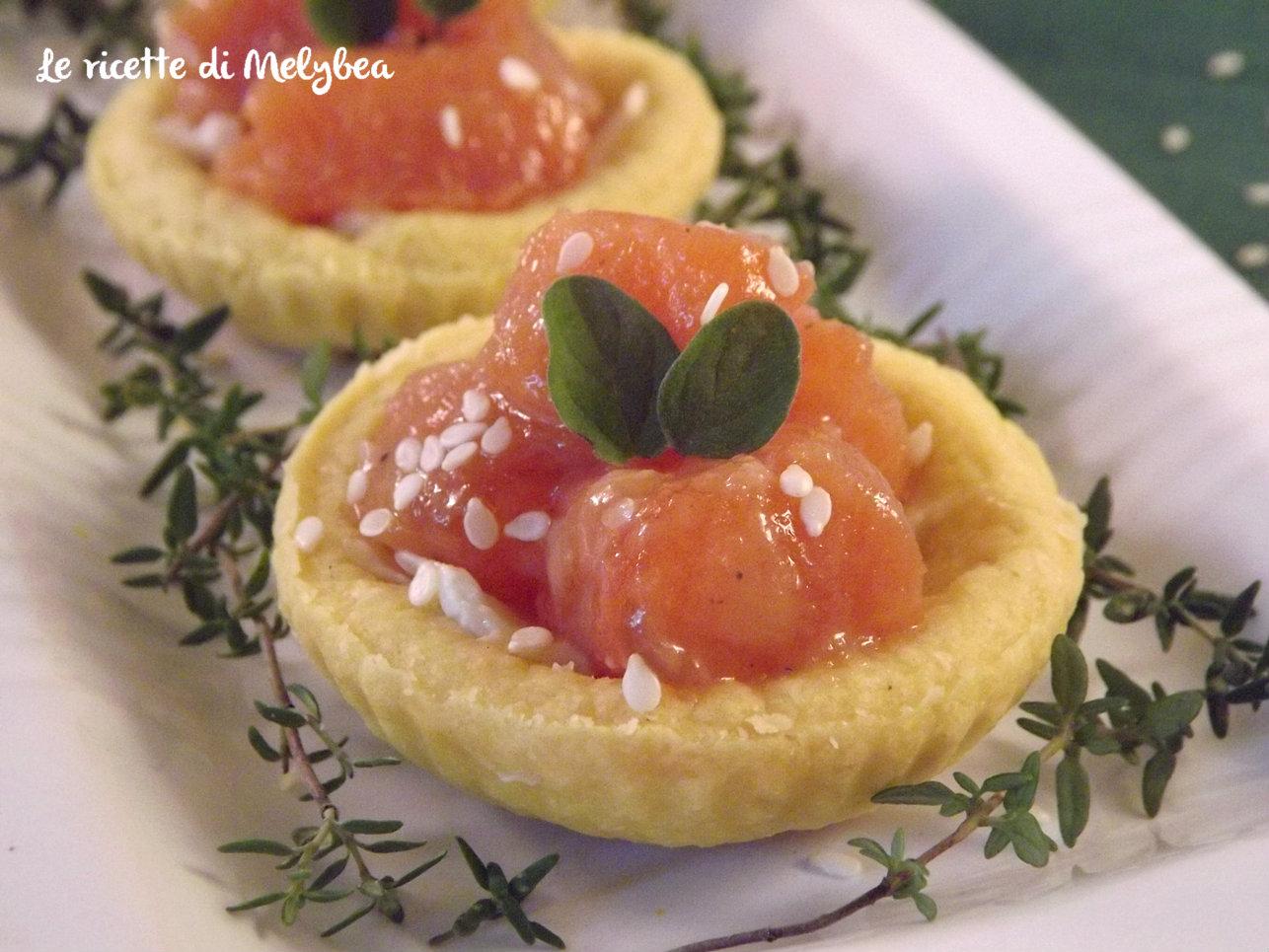 tartellette con salmone agrodolce