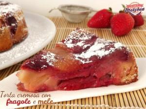 torta cremosa con fragole e mele