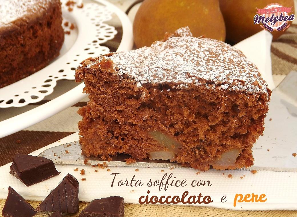 torta soffice con cioccolato e pere