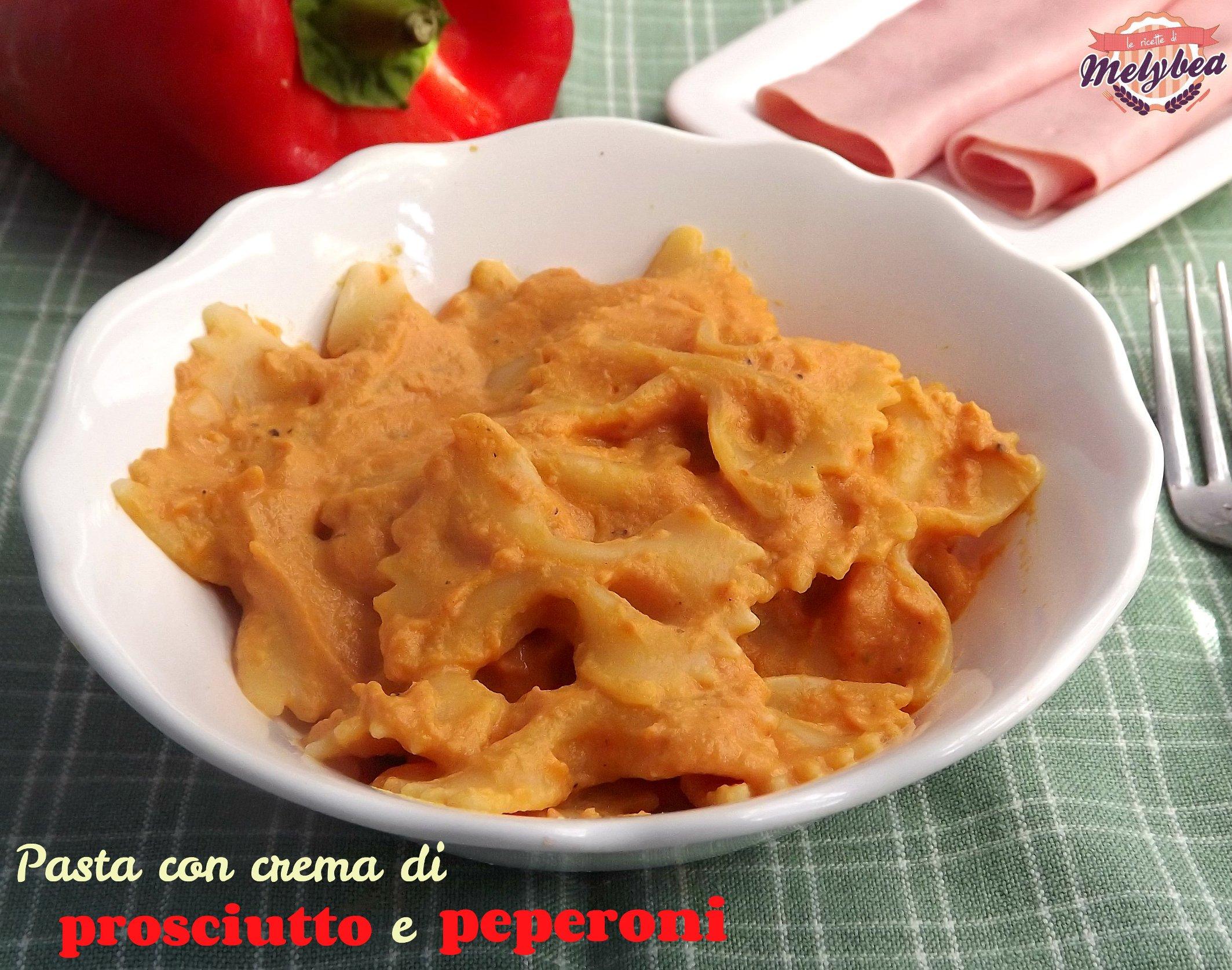 pasta con crema di prosciutto e peperoni