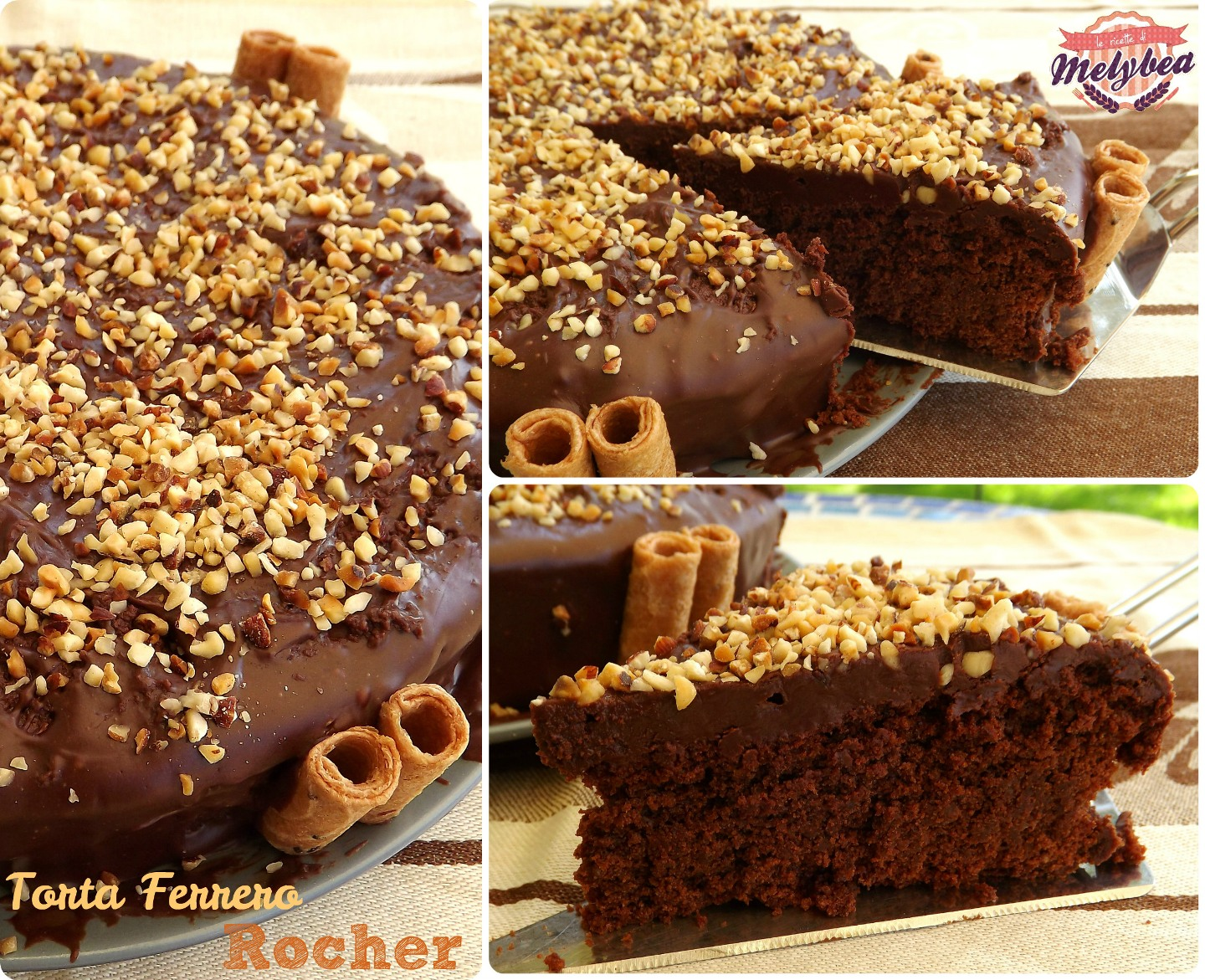 Torta ferrero rocher collage