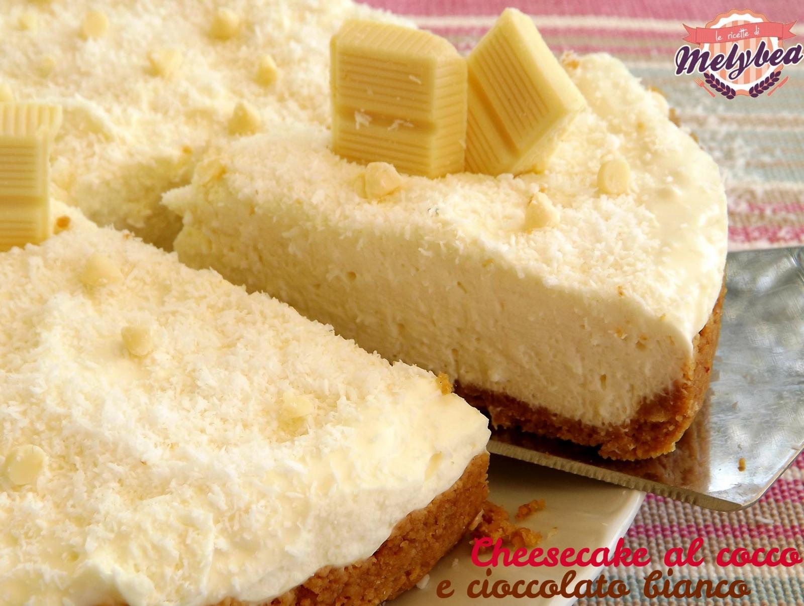 cheesecake al cocco e cioccolato bianco teglia