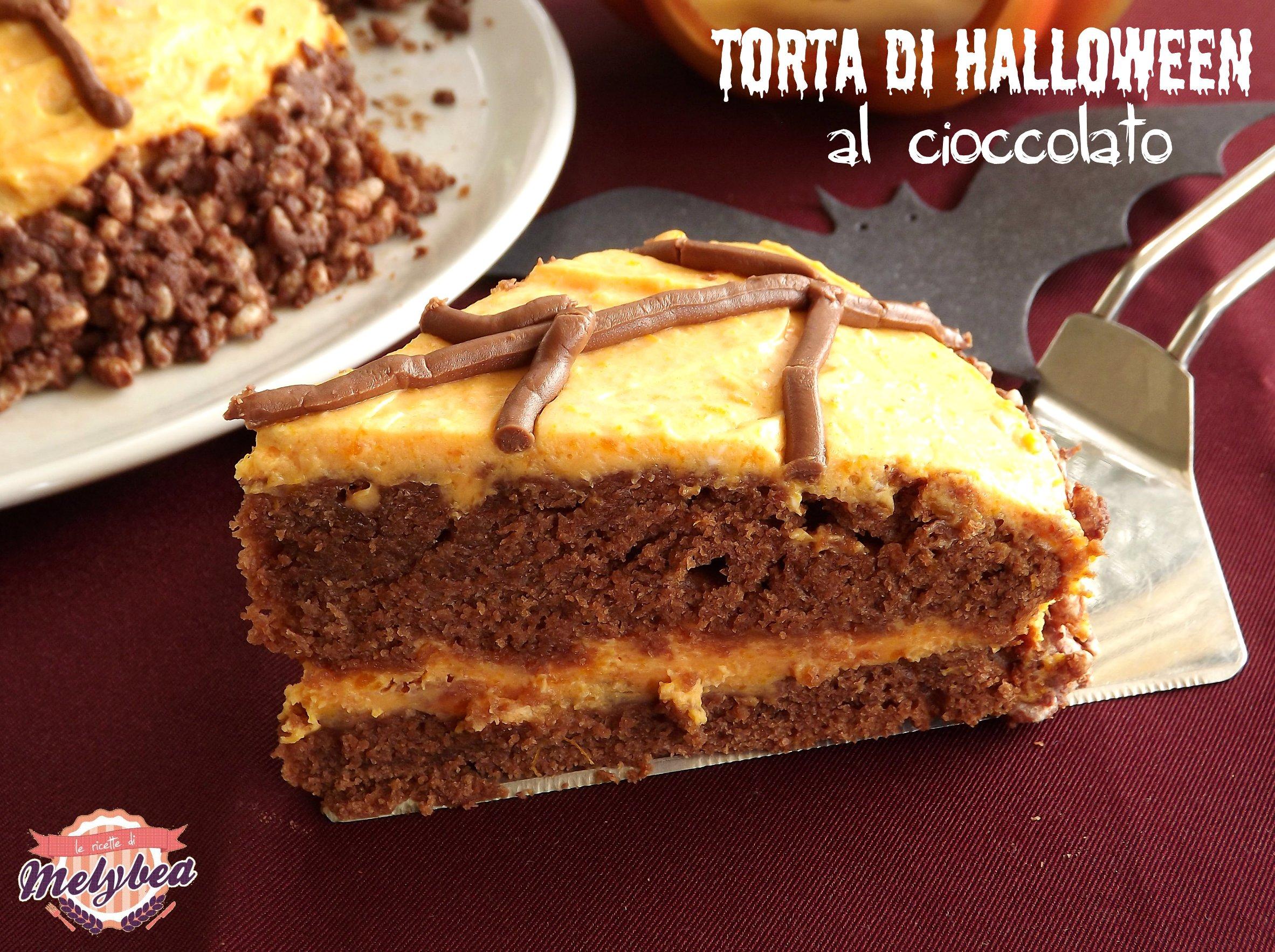 torta di halloween al cioccolato fetta
