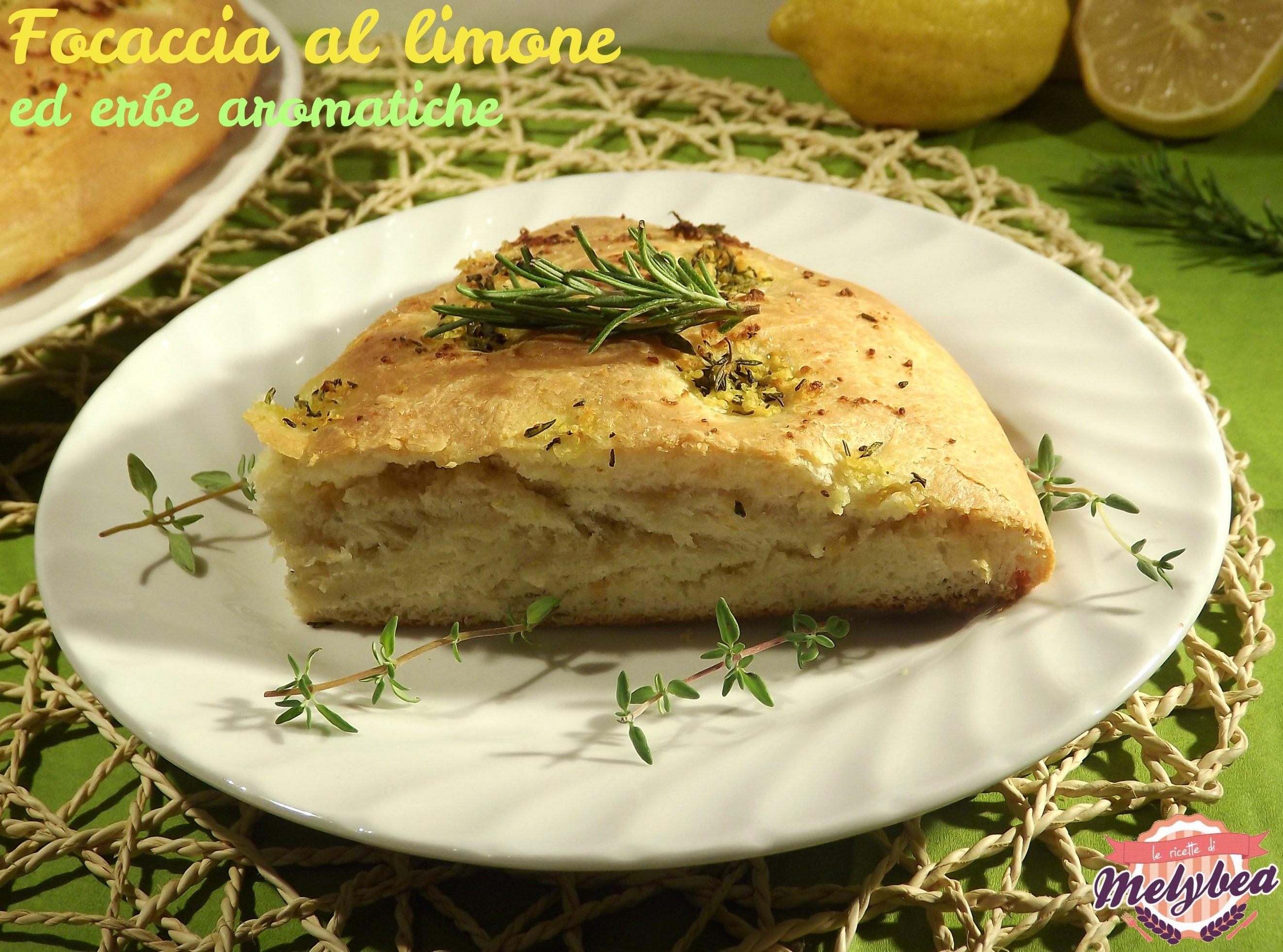 focaccia al limone ed erbe aromatiche fetta