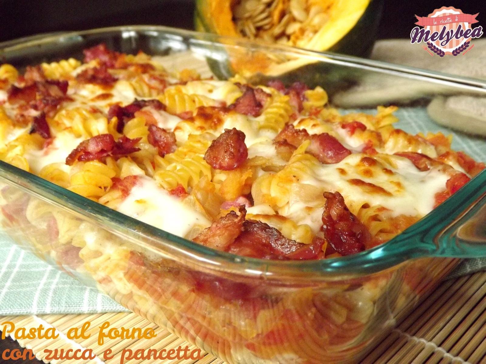 pasta al forno con zucca e pancetta
