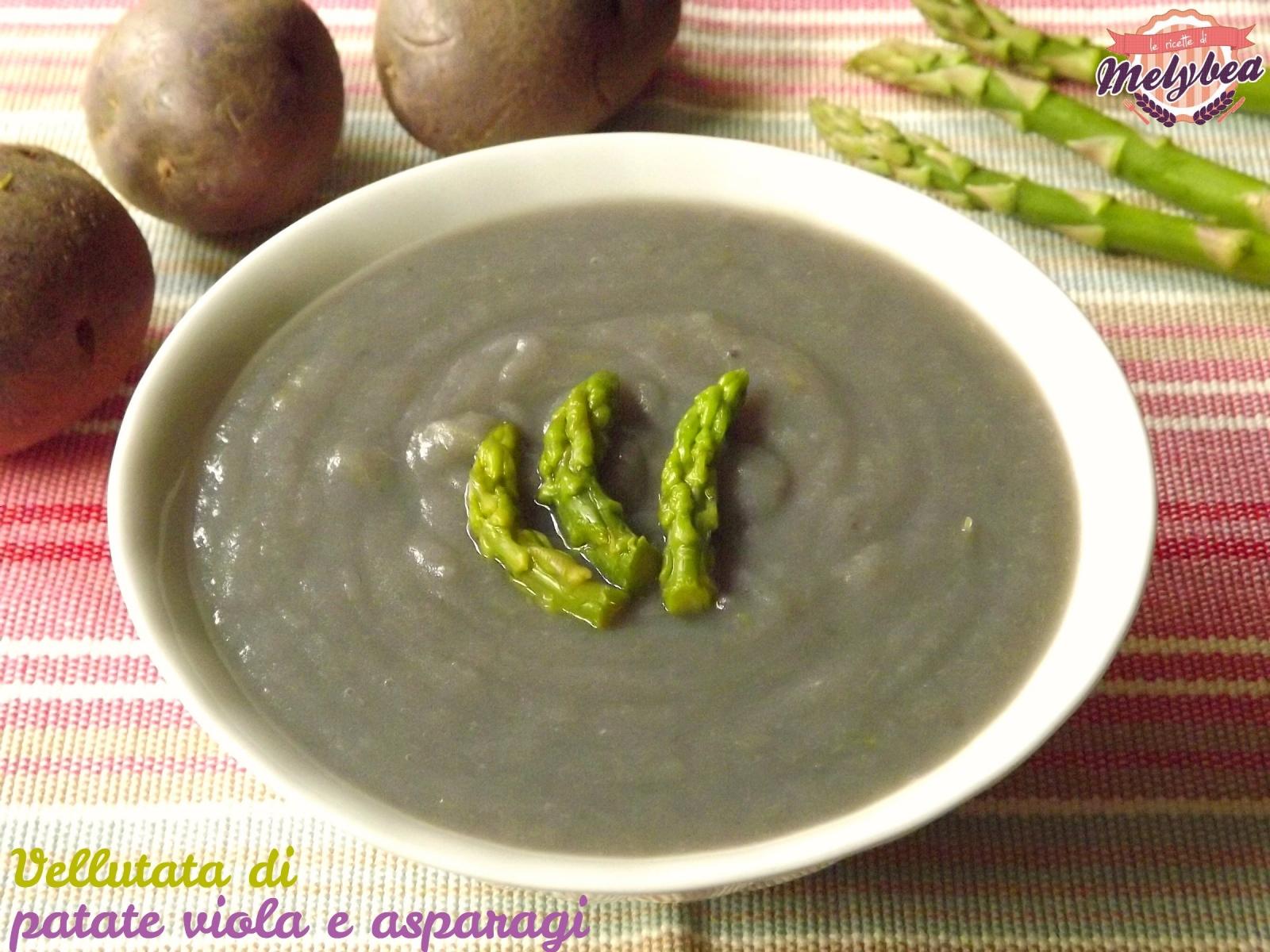 vellutata di patate viola e asparagi