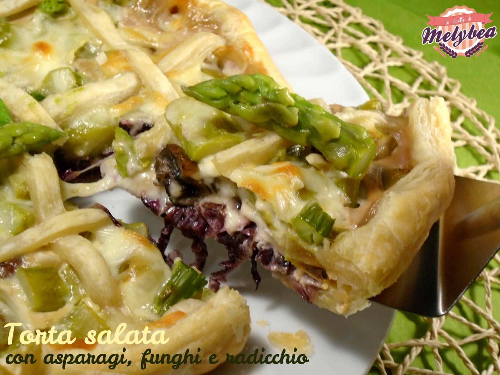 torta salata con asparagi funghi e radicchio