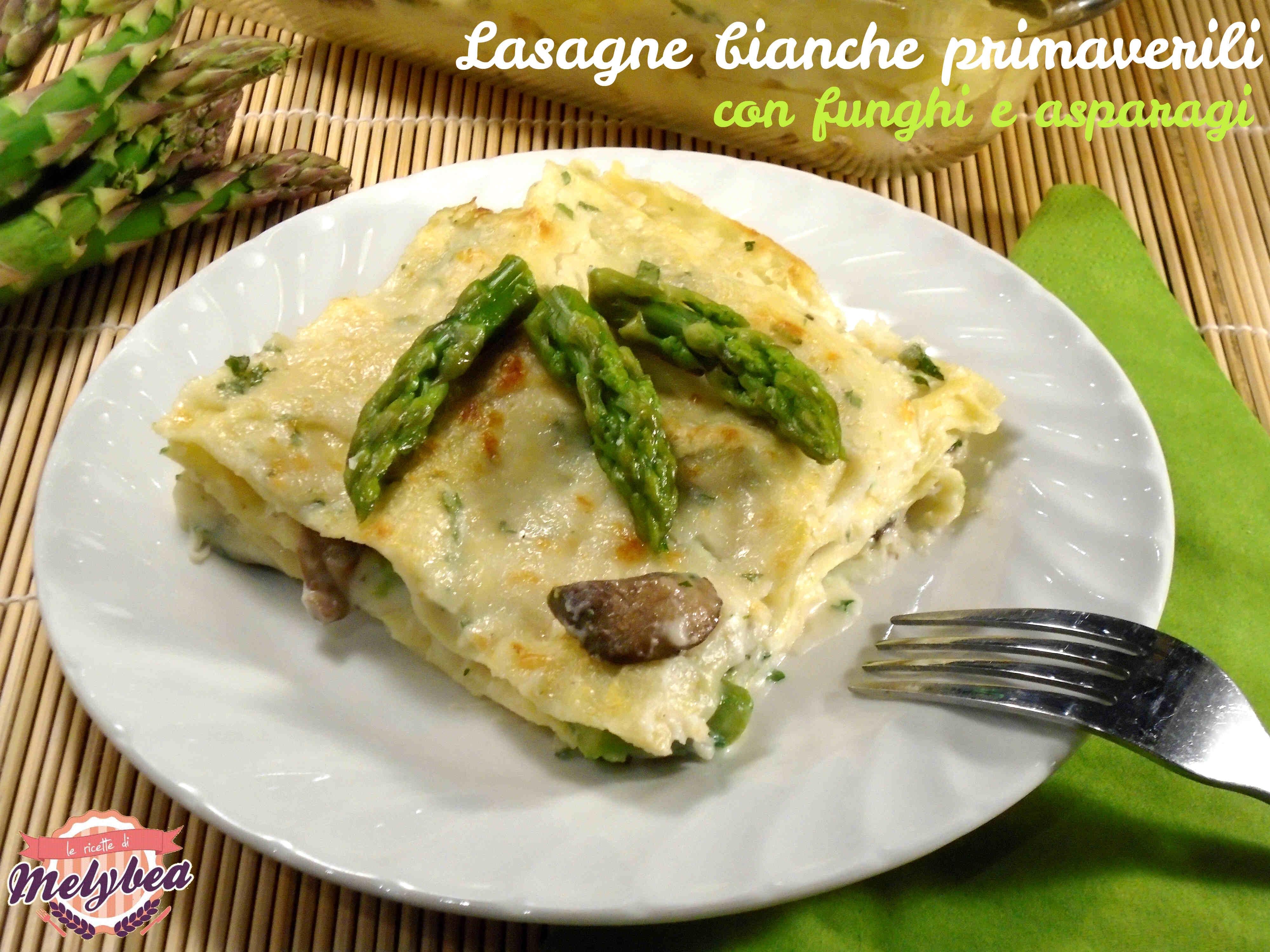 lasagne bianche primaverili con funghi e asparagi